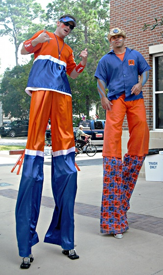 Gator fans on stilts